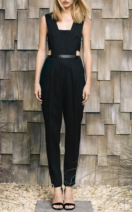 Crinkle And Leather Side Cut Out Jumpsuit by Sea for Preorder on @Ann Flanigan Flanigan Flanigan Lee Operandi