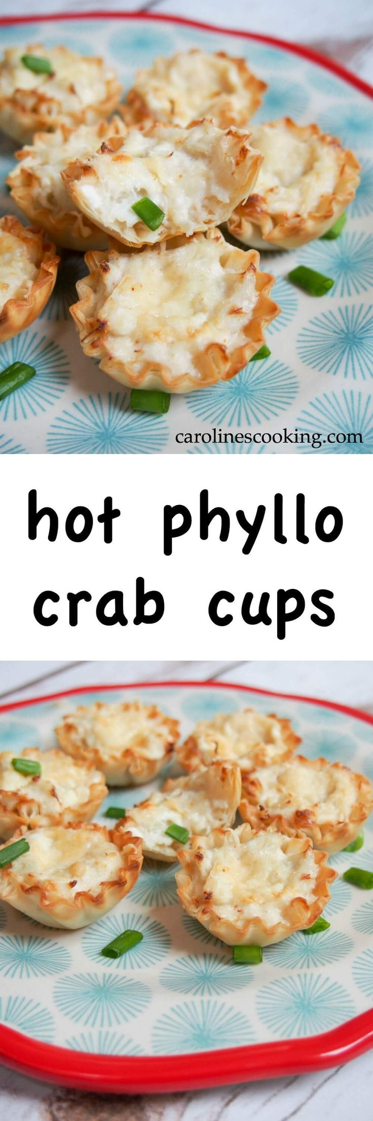 Forget about fighting over the dips and chips, these hot phyllo crab cups are the perfect bite-sized appetizer with the flavors of hot crab dip. So easy to make, so delicious.