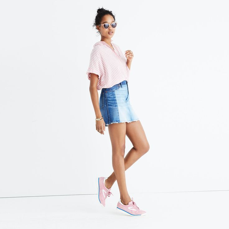 We're firm believers that denim is not just for jeans and this skirt is just one case in point—this easy A-line mini is pieced together in a nod to the homespun cool of '70s DIY style. <ul><li>Premium 94% cotton/5% poly/1% elastane denim from the renowned Orta mill with premium 98% cotton/2% elastane denim from Italy's Candiani mill.</li><li>Light and dark indigo washes pieced together before being artfully hand distressed.</li&g...