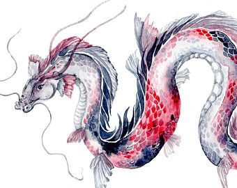 Koi Dragon - Watercolor Art Print  8''x10''' koi fish scales pink and black bathroom Chinese dragon water swimming cottage bedroom