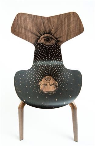 Fontain d'Amour - Fritz Hansen Grand Prix chair, tattoo by Pietro Sedda for Fantastic Wood project by Diego Grandi. On auction for Dynamo Camp http://www.charitystars.com/auctions?tid=565