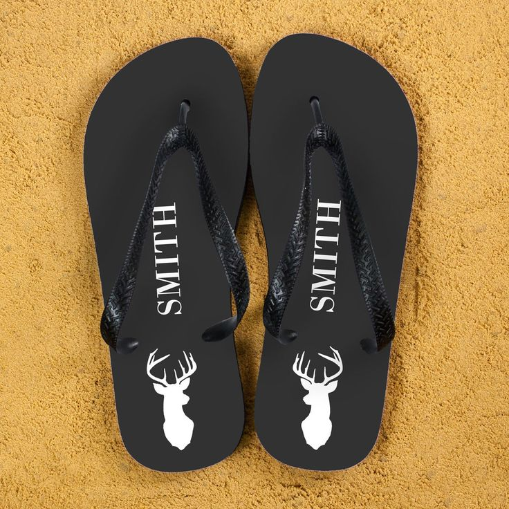 Stag Design Personalised Flip Flops in Grey - yourgifthouse