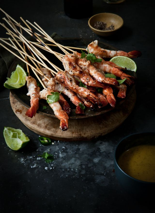 BBQ Prawns with Mango, Lime, Soy and Mint Dressing