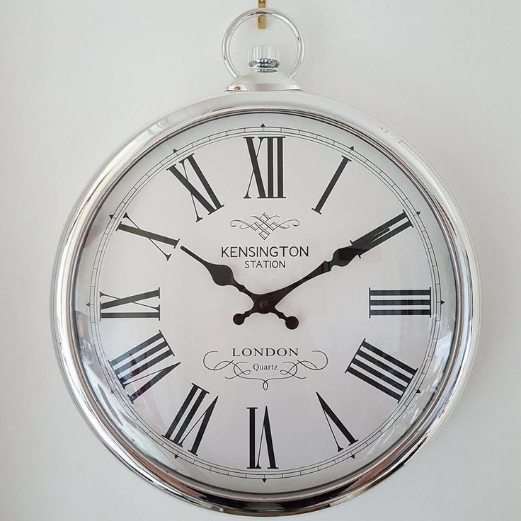 LARGE POCKET WATCH STYLE SILVER WALL CLOCK ROMAN NUMERALS KENSINGTON STATION