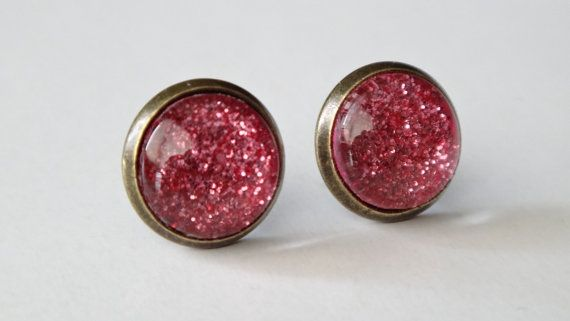 Sparkling Grapefruit Glass dome earrings by WiseWitchWear on Etsy