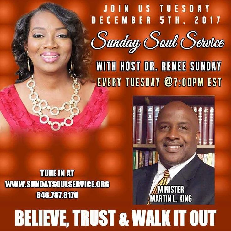 STARTING IN 36 MINS. Sunday Soul Service. TOPIC: THE GIFTS THAT GOD GIVES. Tune in Live on Tuesday DECEMBER 5  2017 at 7:00 pm EST.. Our Speaker for the evening is Minister Martin L. King. Sunday Soul Service is a platform sharing the Goodness of God and sharing testimonies to build His Kingdom. #GOD #GODGIVES #soul #service #GlorytoGod #buildothers #sundaysoulservice #platformbuilder #faith #peace #DrReneeSunday #ManifestationsNow #confidence #Healing #buildothers #purpose #souls #Emotions…