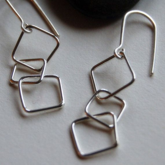 Abstract Square Chain Earrings in Sterling Silver:    Completely hand-forged earrings from solid sterling silver. The squares are not perfect, but more