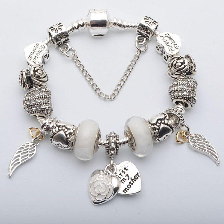 """Mother"" European Charm Bracelet - White"