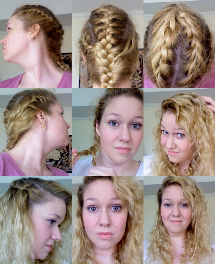 No heat curls and waves from wet multi-french braid over night ;D