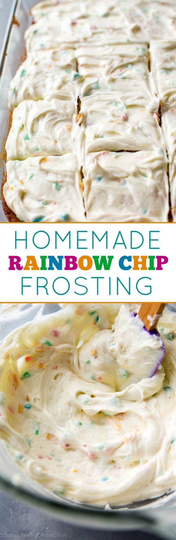 How to make sweet and cream rainbow chip frosting at home! Tastes even better than the real deal! Recipe on sallysbakingaddiction.com