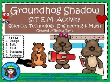 Let's make some groundhog shadows for Groundhog Day! This is a fun STEM activity that I created for my students to do on or around February 2nd. Can your team create the longest shadow for your groundhog? Save $$$ when you buy it in the bundle: STEM Science, Technology, Engineering & Math Bundled Set 3