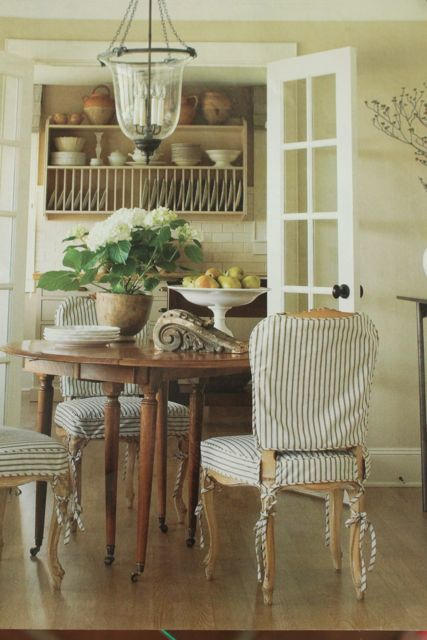 striped slips: Dining Rooms, Ticking Stripes, French Doors, Dining Chairs, Slipcovers, Plates Racks, Seats Covers, Slip Covers, Chairs Covers