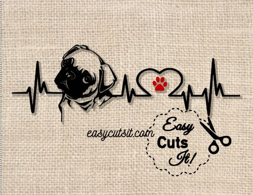 Download Pug Heartbeat ~ SVG, DXF, EPS, PDF plus   In a heartbeat ...