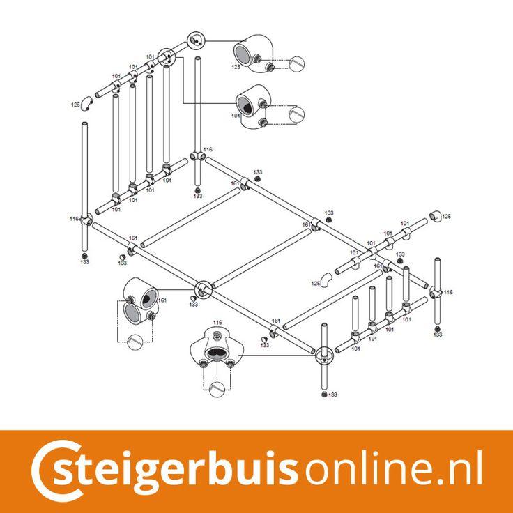 Werktekening (DIY) - Bed van steigerbuis