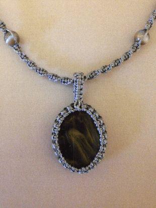 Macrame wrap glass necklace, brown