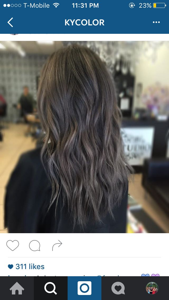 charcoal and ash tones on dark hair! balayge