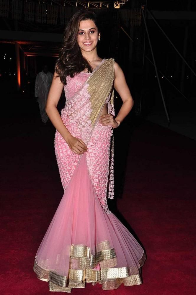 "Telugu actress Taapsee Pannu stills at Pearl V Potluri Half Saree Function in pink color saree and without jewellery. Actress Taapsee was looking stunning and gorgeous in Her cute face and smile always attract audience. Actress Taapsee Pannu is an Indian model as well as an actress, who appears in Tamil, Telugu, Malayalam and Hindi … Continue reading ""Taapsee Pannu At Pearl V Potluri Half Saree Function Photos"""