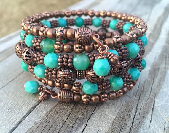 Copper And Teal Delight Multi Strand Memory Wire Bracelet