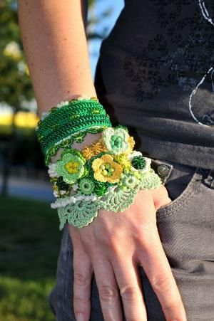 Green Yellow Creme crochet bracelet. Handmade by KaterinaDimitrova by louellaa