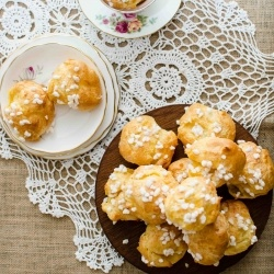 ... pastry puffs sprinkled with pearl sugar, a delectable sweet snack