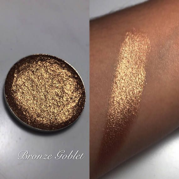 Welcome to Enchanted lustre! Where all items are hand made and made to order ❤️  -26mm pan only-  Bronze Goblet: Foiled, super shimmery bronze shadow. Ingredients - Mica (eye & face safe - not recommended on lips), propyl alcohol, coconut oil, purified vitamin E oil, vegetable
