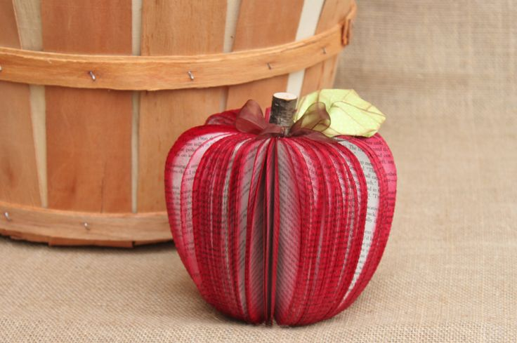"""Teacher's Gift, Upcycled Book Apple 7"""", MADE TO ORDER, great for Back to School. $15.00, via Etsy."""