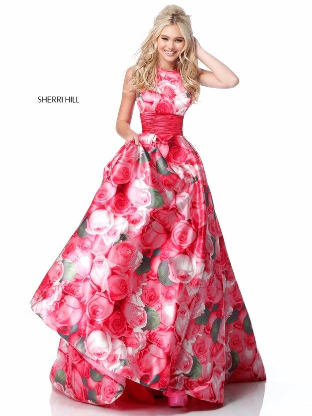 13e099adca Sherri Hill 51800 Halter-Neck Floral Print Formal Gown