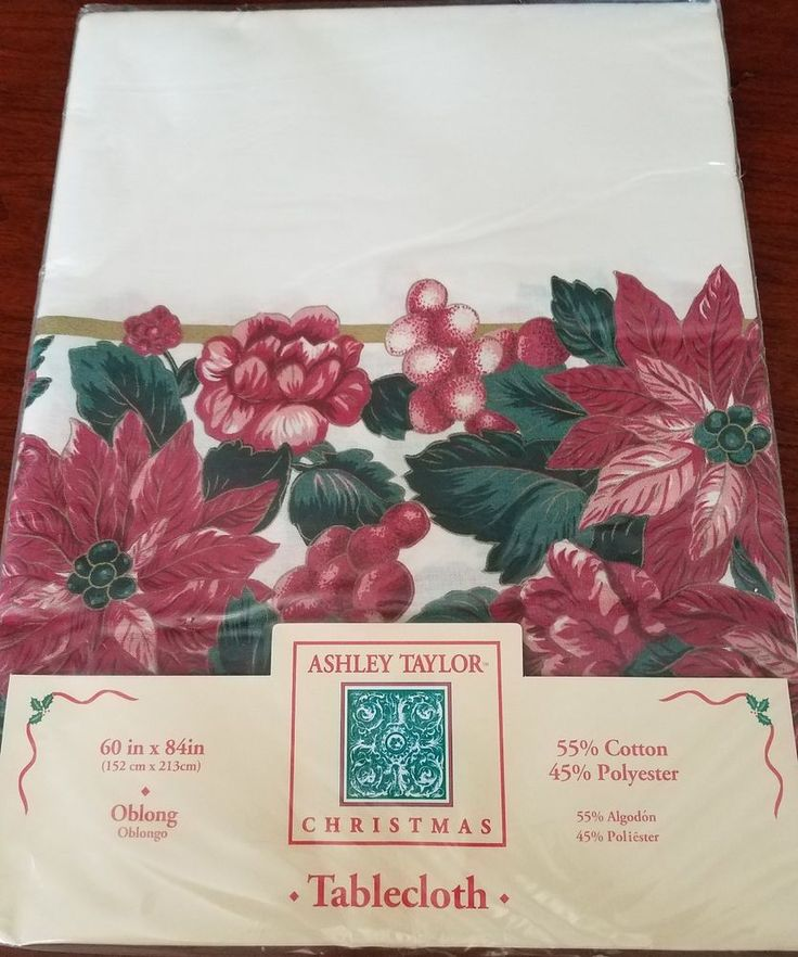 Christmas Tablecloth Oblong 60 x 84 Ashley Taylor Large White Red #Taylor