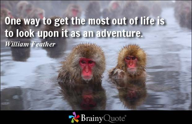 One way to get the most out of life is to look upon it as an adventure. - William Feather