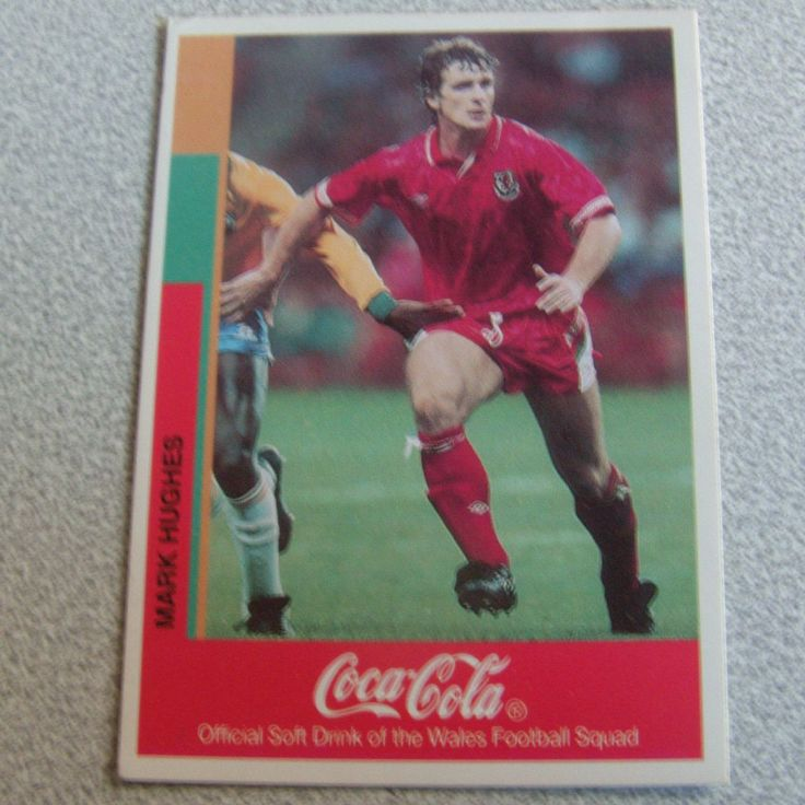 ITEM A retro Mark Hughes Wales trading card these were promotional cards you got when you bought multipacks of coke and could win tickets to Wembley
