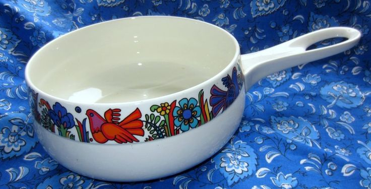 Retro Villeroy and Boch Made Luxembourg Acapulco Porcelaine Saucepan Pot VGC