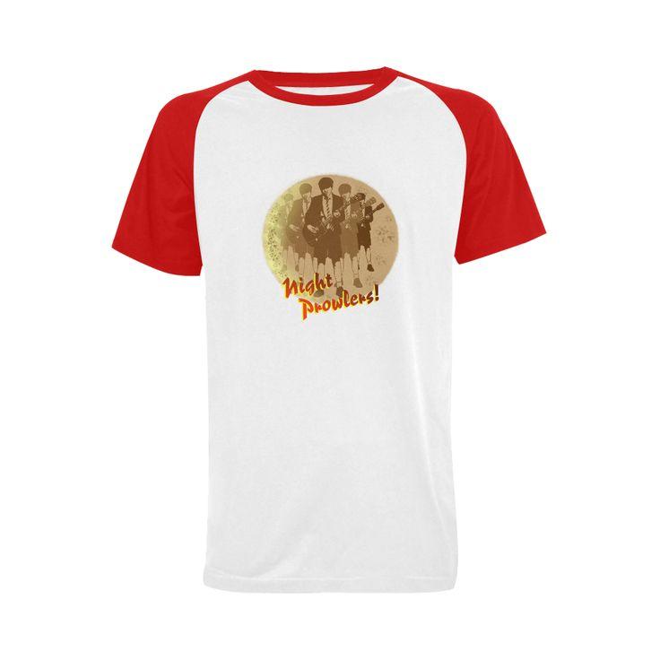 'Night Prowlers' - Mens Raglan T-shirt @artsadd  #rockicons #nightprowler #guitarist #acdcfans #acdc #angus #highwaytohell #angusyoung #gibsonguitars #mensfashion #fashiontees #raglantees #redandwhite #rock #popart #pop #rockmusic #heavymetal #heavyrock #artsadd