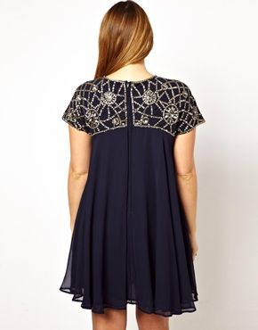 ASOS CURVE Exclusive Premium Swing Dress With Embellished Neck