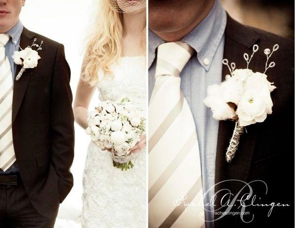 cotton boutonniere and bouquet | Winter cotton wedding | Nozze di cotone http://theproposalwedding.blogspot.it/ #cotton #wedding #winter #matrimonio #cotone #inverno