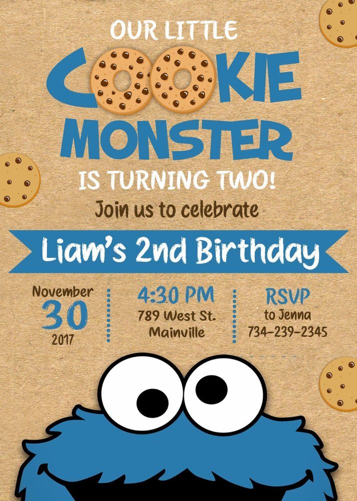 Cookie Monster Birthday Party Invitation Cookie Monster Invitation Birthday Cookie Monster Birthday Party Cookie Monster Birthday Cookie Monster Party