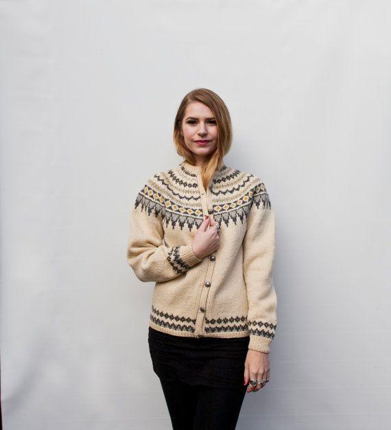 Vintage Sweater - Norwegian 1950s Grey Cream Heavy Wool Knit 60s Cardigan - Medium
