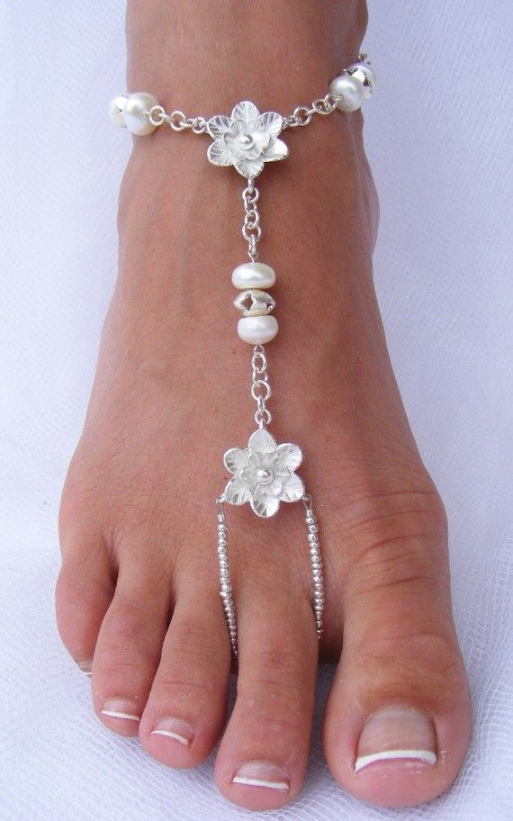 Adorn your feet with Silver flowers by PassionflowerJewelry, $120.00. I LOVE THIS ONE TOOOOOOO!!!!