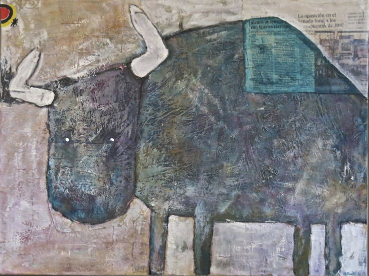 Taurus. Birgit Ravn Søndergaard. Acrylics and collage on canvas.