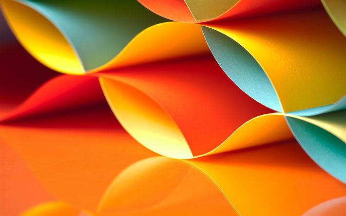 Lataa kuva 3d-aallot, värikkäitä papereita, luova, art