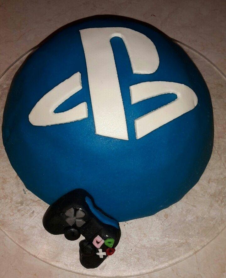 Marsepein boltaart playstation logo met controller