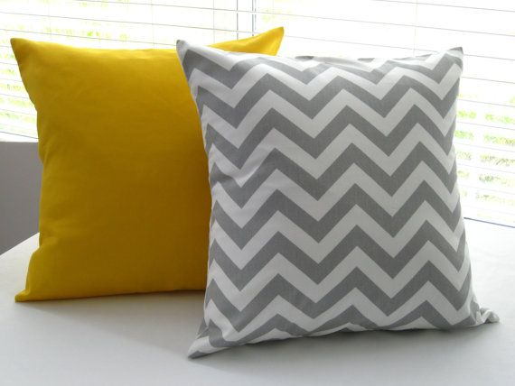 Yellow Gray Pillows Decorative Pillows Throw Pillow Covers  16 x 16 each, 1 Gray Chevron Stripe  and 1 Solid Yellow