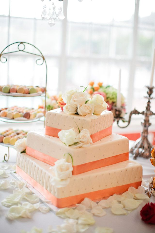 Gorgeous pink & peach wedding cake, photo by Chelsey Boatwright Photography