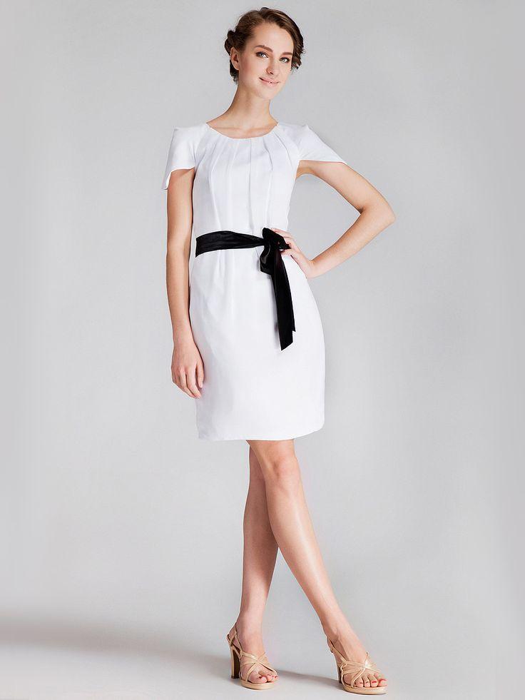 Cap Sleeve Pleated Little White Dress