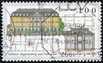 german castle stamps: GERMANY - CIRCA 1997: a stamp printed in the Germany shows Augustusburg and Falkenlust Castles, Bruhl, UNESCO World Heritage Sites, circa 1997