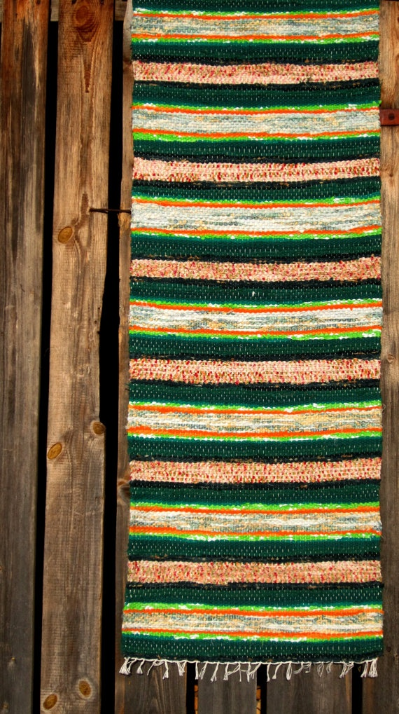 Handwoven rag rug  194' x 584'  stripes stripes'' by Gunaspalete Latvia