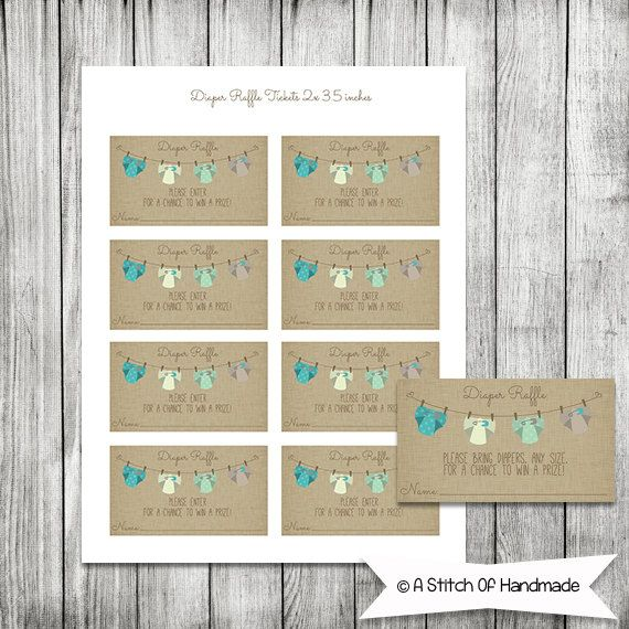 Diaper Raffle  Printable Raffle Ticket for a by AStitchOfHandmade, $5.00