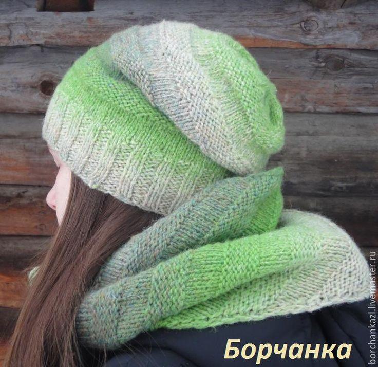 Купить Комплект шапка + снуд Скоро весна - зеленый, в полоску, унисекс