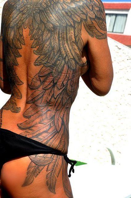 beautiful wings tattoo. I love the detail.