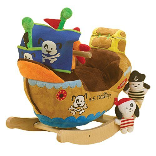 Rocking toys for toddlers are not just horses anymore - oh no. Toddlers enjoy rocking pirate ships, giraffes and even mammoths. Plushy rockers too!