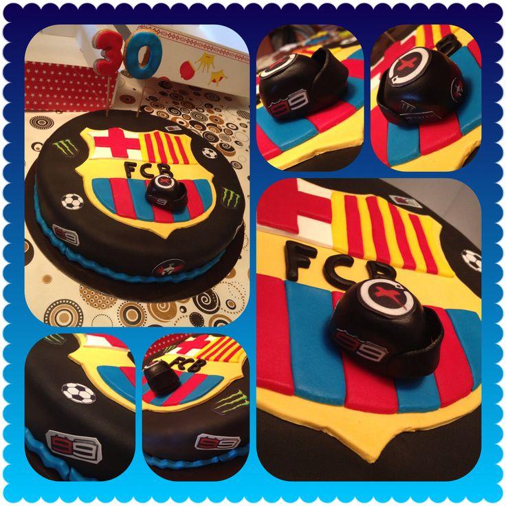 Pastel del Barça con casco de Jorge Lorenzo